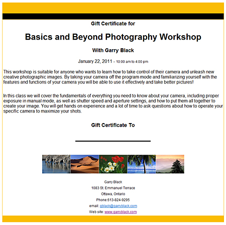 gift certificate for photography workshops and classes | travel